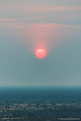 Red sunset near Etosha National Park