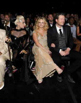 Lady GaGa, Miranda Lambert, and Blake Shelton at the GRAMMYs