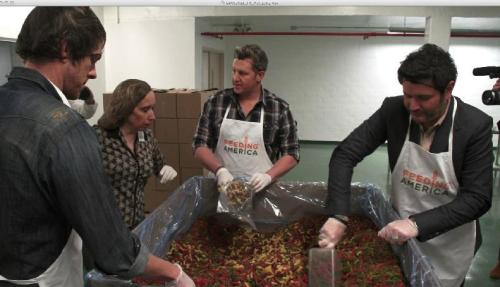 Rascal Flatts visiting a food bank in New Jersey