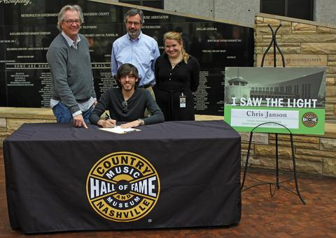 Photo (back - from L to R): Kyle Young (Director, Country Music Hall of Fame and Museum), Jay Orr (Vice President, Programs), Rachel Weingartner (Membership Manager, Country Music Hall of Fame and Museum) and Chris Janson