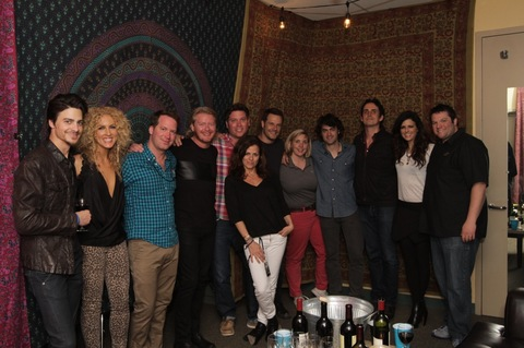 L-R: LBT band member Seth Rausch, Kimberly Schlapman, Bravado Director of A&R Sam Easley, Phillip Sweet, LBT Manager Jason Owen, Senior Vice President AEG Live Ali Harnell, Jimi Westbrook, AEG Live Senior Director of Operations Leslie Cohea, LBT band member Johnny Duke, LBT band member John Thomasson, Karen Fairchild, LBT Tour Manager Bobby Simmons