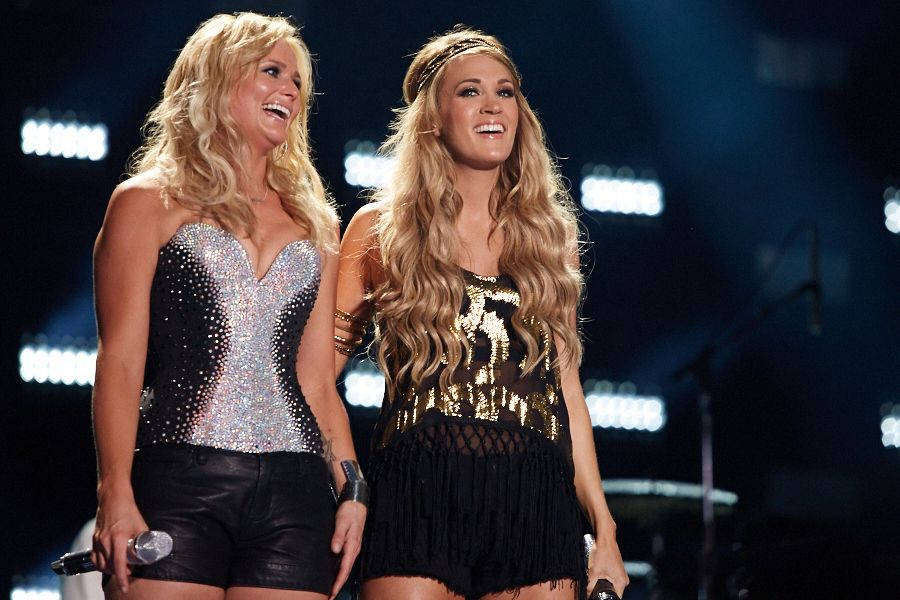 Miranda Lambert and Carrie Underwood performing during the nightly LP Stadium shows.