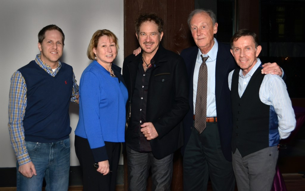Kix Brooks was named the first recipient of the CMA Foundation Humanitarian Award. Pictured l-r: Jon Loba, Vice Chair of the CMA Awards and Recognition Committee; Sarah Trahern, CMA Chief Executive Officer; Brooks; Frank Bumstead, CMA President of the Board; and Joe Galante, Chairman of the CMA Foundation Board. Photo Credit: CMA / Caitlin Harris