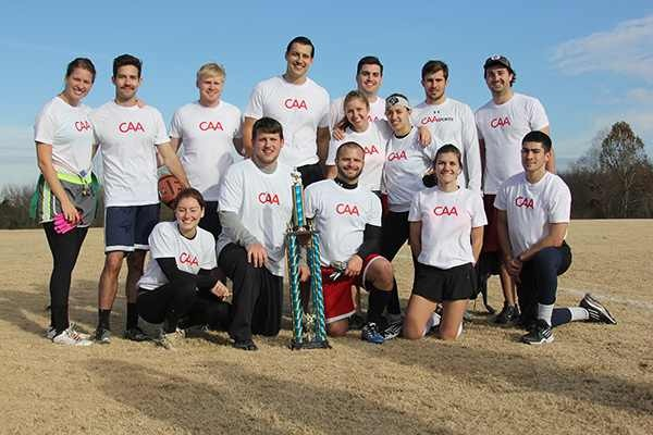 Team CAA - SOLID 2014 Turkey Bowl Champions Pictured (l-r): (back row) Taylor Lange, Madison Lee, Todd Farrell, Nicholas Boehmke, Emily Van Allsburg, Jeffrey Tobias, Farrah Usmani, Patrick Collins, Tee Stumb, (front row) Katie Germano, Jason Huie, Nick Myers, Elisa Vazzana Boehmke and Bill Collins