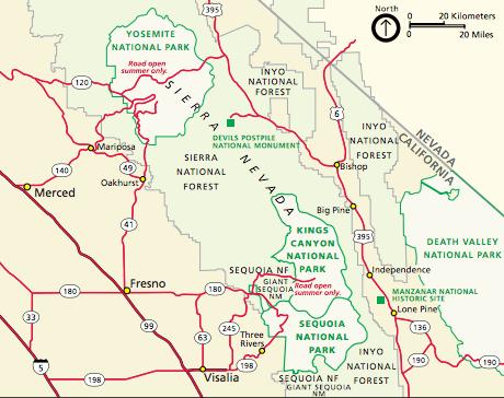 Regional Map Sequoia National Park