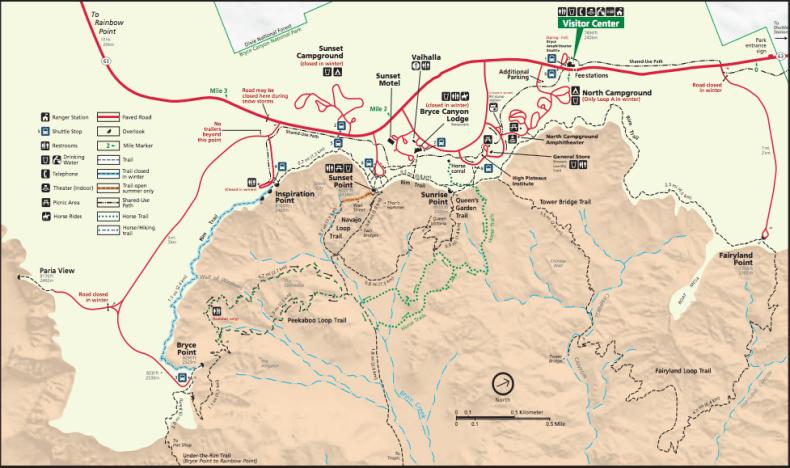 Bryce Canyon trekking trail map