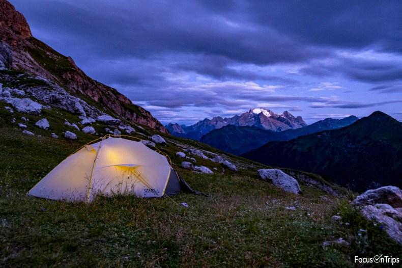 alta via 1 dolomiti in tenda