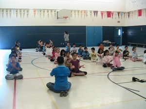The kids take part in 30 minutes of meditation.