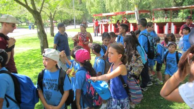 Campers lining up to go to the castle in High Park