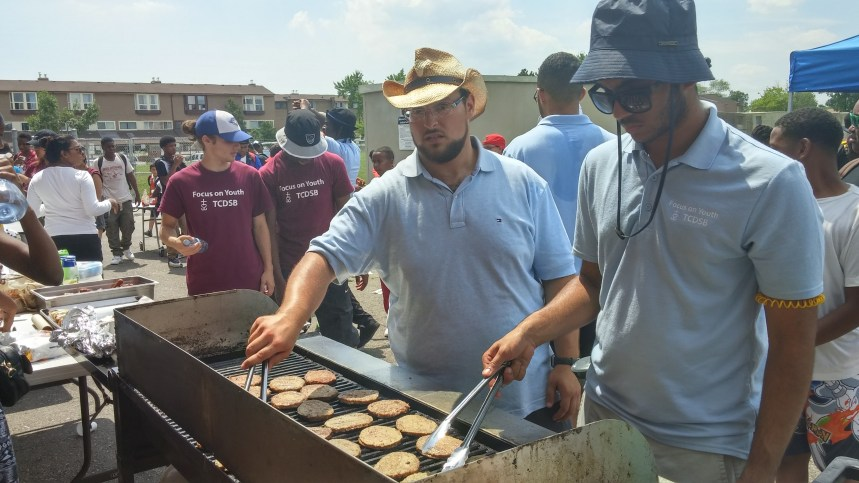 Focus on Youth Supervisors barbecuing lunch