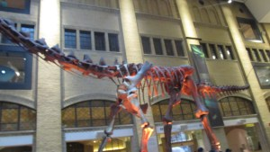 A big dinosaur at the entrance of the museum