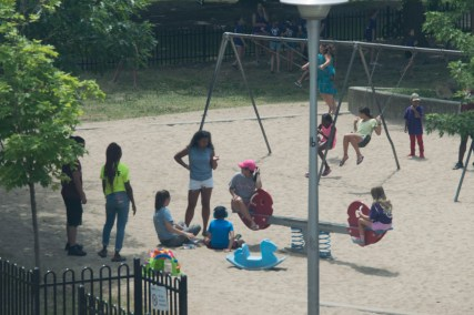 Campers enjoying a fun day at the park located just outside