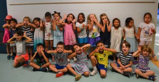 Campers making a silly face