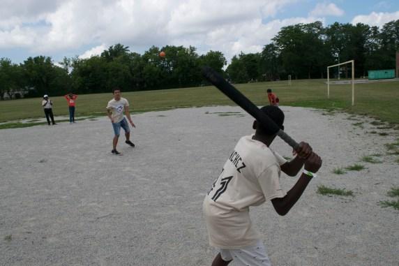 Camper up at bat ready to strike a home run
