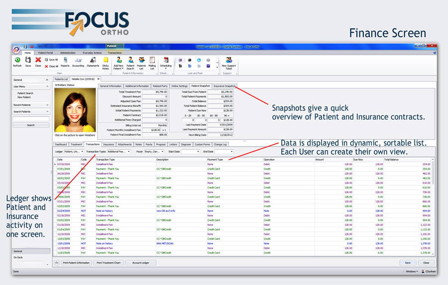 focus ortho finance example