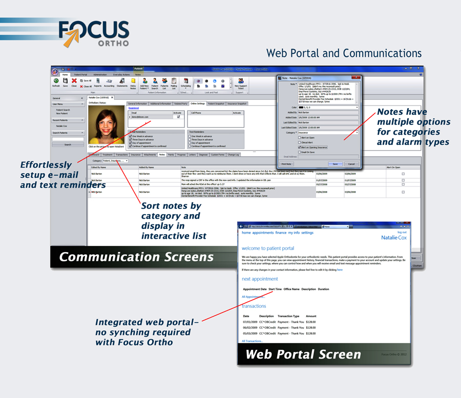 focus ortho web portal and communications example