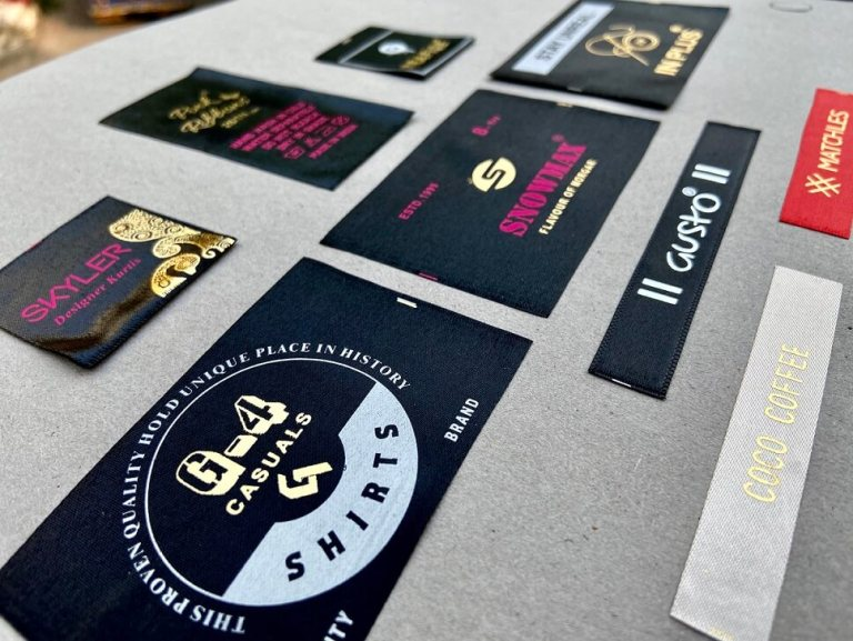 Foil Printed labels used as garment labeling