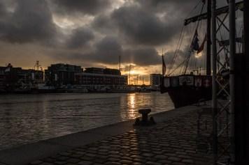 Sonnenuntergang am Hafen von Bremerhaven