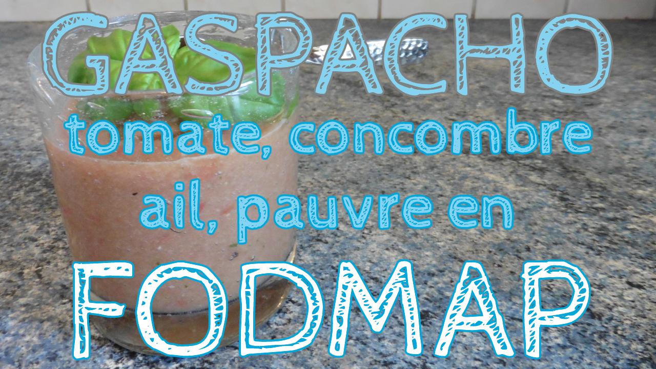Gaspacho à la tomate et au concombre aromatisé à l'ail pauvre en FODMAP en vidéo