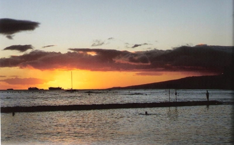Sunset from Waikiki Beach, Honolulu
