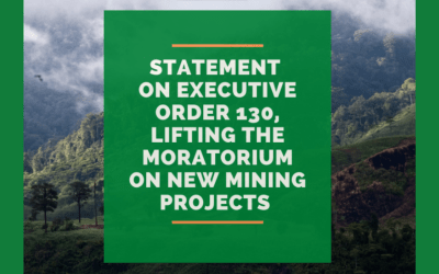Statement on the issuance of EO 130 lifting the moratorium on mining