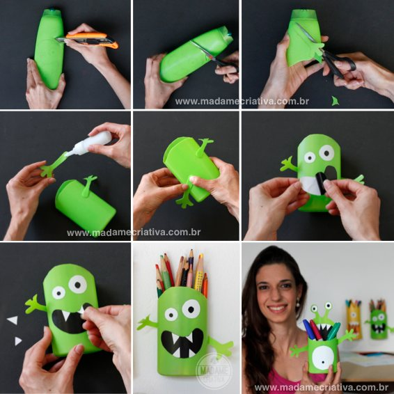 How to make creative pencil holder for children - shampoo pot Monster - Tips and step by step with photos - DIY - Tutorial - Shampoo Monster - How to - Madame Creative - www.madamecriativa.com.br