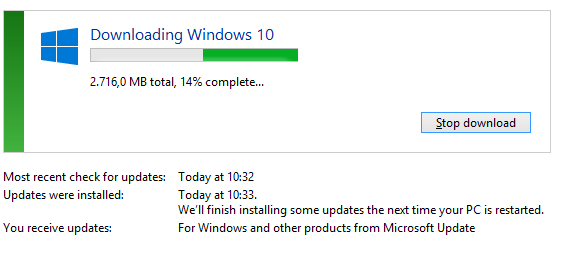 Windows 10 has started downloading