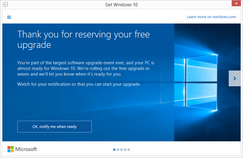 "The ""Thank your for reserving the free Windows 10 update"" message"