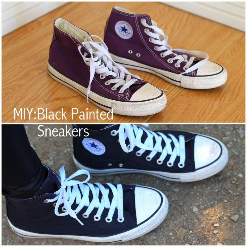 0bee56cb34ff foggy dress painted sneaker diy how to paint your shoes black