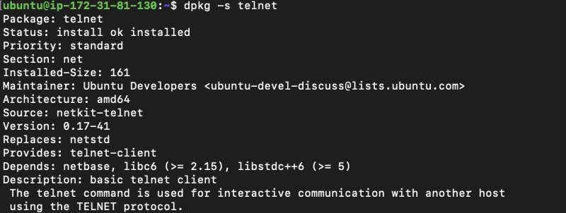 Verify the telnet client is installed