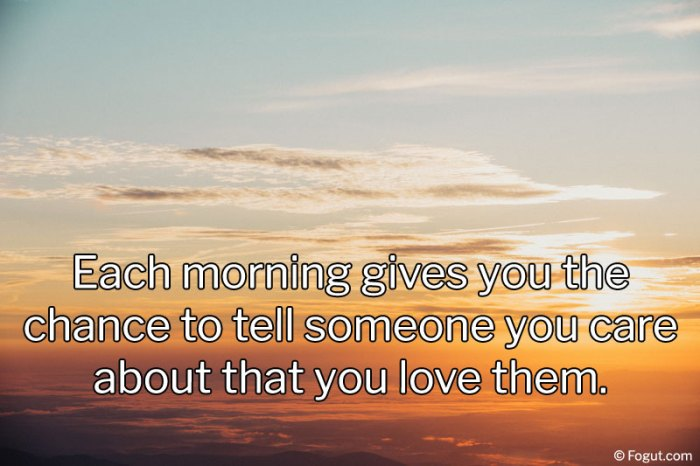 Each morning gives you the chance to tell someone you care about that you love them.