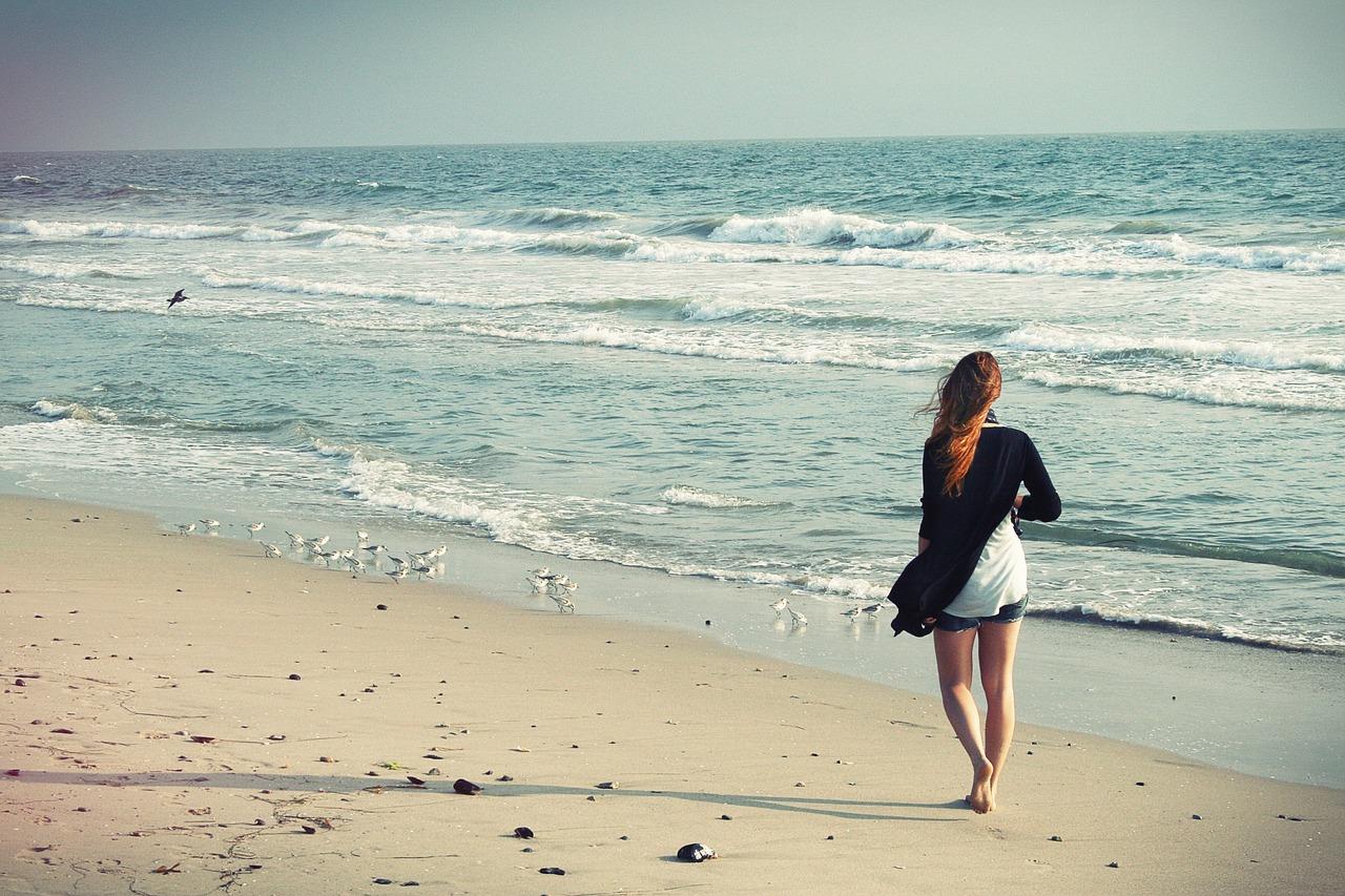 walking barefoot on beach