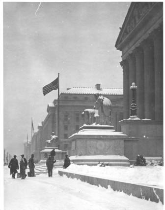 Photograph of Workers Shoveling Snow from the National Archives Building Constitution Avenue Entrance , 01/02/1936  (NARA Identifier: 7820535 )