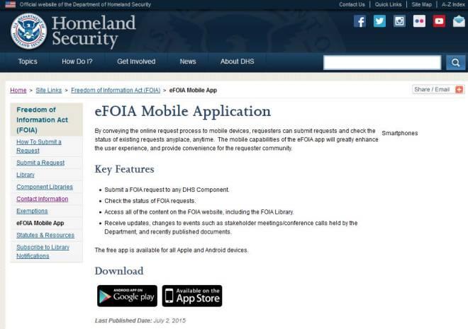 DHS eFOIA Website Screen Shot