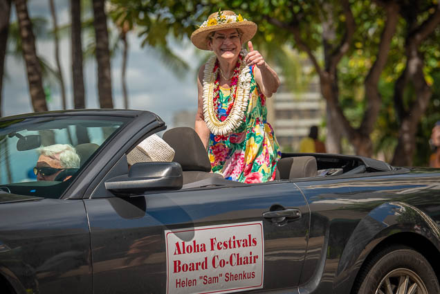 helen-sam-shenkus-aloha-festivals-co-chair-floral-parade-2019-fokopoint-honolulu-9453 73rd Annual Floral Parade