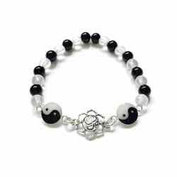Bratara 3 simboluri sacre: Yin Yang, OM si Floare de lotus