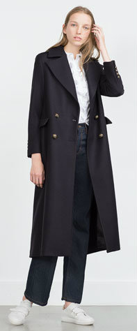 EXTRA LONG COAT WITH METALLIC BUTTONS 17990