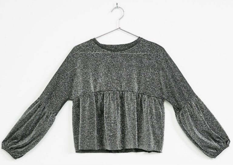 gathered-blouse-in-a-metallic-fiber-with-3-4-sleeve-bsk-2290