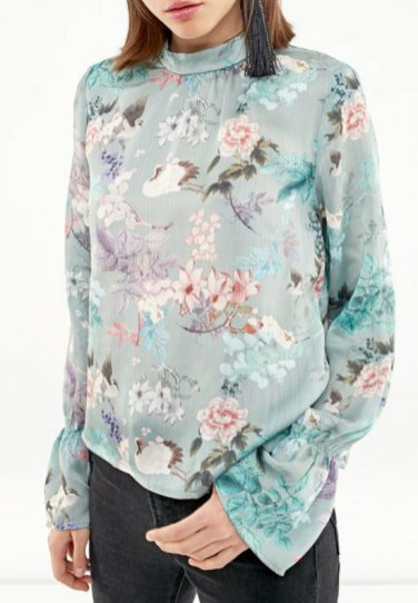 FLORAL PRINT BLOUSE WITH PERKINS COLLAR strad 2590