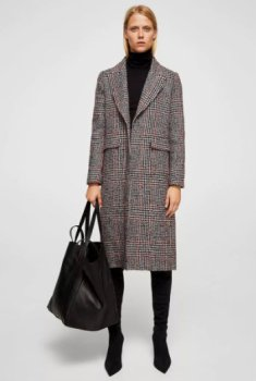 mng Checkered wool-blend coat 12900