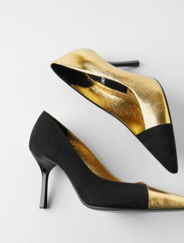 TWO-TONE HIGH-HEEL SHOES WITH METALLIC TRIMS 4590 za