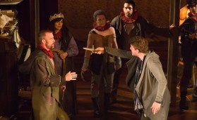 Ian as The Player with Adam Wesley Brown as Guildenstern and Tragedians.