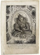Delaram engraving of Elizabeth, 1617-1619. This magnificent posthumous engraving, based on a portrait by Hilliard, is an apotheosis of Elizabeth. In imagery taken from the Virgin Mary as the Woman of the Apocalypse, Elizabeth is shown crowned with stars. Her earthly success is commemorated beneath in verses by John Davies of Hereford: Lo here her Type, who was of late, the Prop of Belgia, Stay of France: Spaines Foyle Faiths Shield, and Queene of State; of Arms and Learning; Fate and Chance: In brief; of women, nere was seen, so great a Prince; so good a Queen.