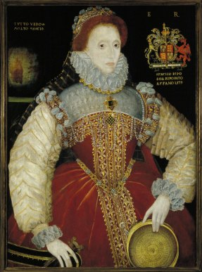 "The Plimpton ""Sieve"" Portrait of Queen Elizabeth I, 1579 This magnificent portrait by George Gower, Sergeant Painter to the Queen, belongs to the early group of ""Sieve"" portraits where Elizabeth wears a red gown. The portraits take their name from the sieve she holds in her left hand, recalling the Roman Vestal virgin who carried water in a sieve, thus proving her virginity. In this painting, the globe on the left with the Italian motto ""I see everything and much is lacking,"" appears to refer to Elizabeth's imperial mission as her explorers sailed out to new lands. On the right is her coat of arms with a quotation beneath from Petrarch, indicating that the Virgin Queen is beyond the woes of lovers."