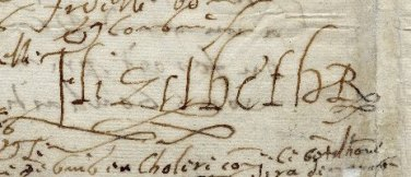 Detail of Elizabeth I's signature in a letter to Henri IV of France, c. 1590.