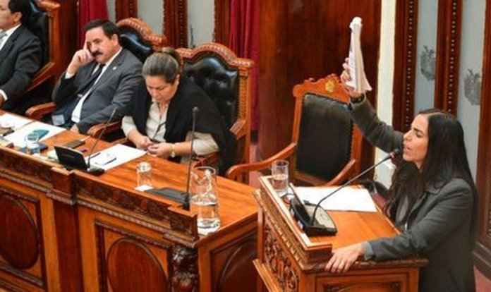 Gabriela Montaño, presidente da Câmara dos Deputados da Bolívia, durante a sessão.