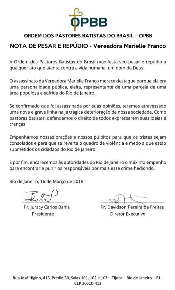 Nota de pesar e repúdio da OPBB sobre o caso da vereadora Marielle Franco