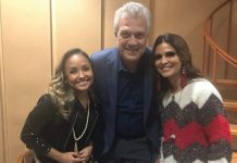 """Aline Barros e Bruna Karla com Pedro Bial, no programa """"Conversa com Bial"""", da Rede Globo"""