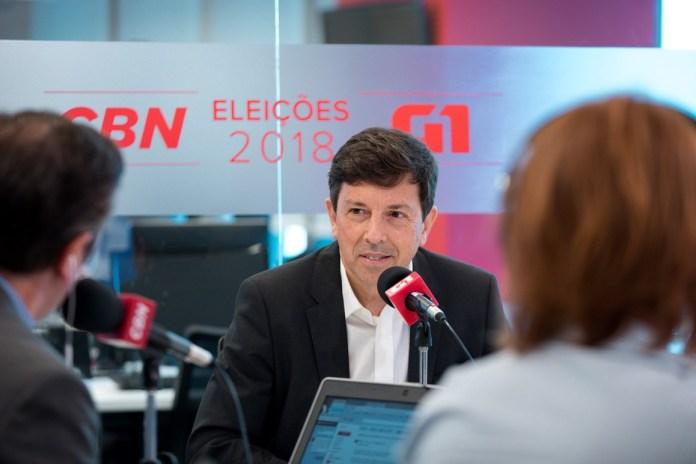 João Amoedo, candidato a Presidência da República pelo Partido Novo, durante sabatina na rádio CBN (Foto: Marcelo Brandt/G1)