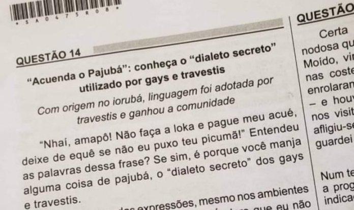 Questão do Enem abordou 'dialeto secreto dos gays e travestis'. (Foto: Reprodução)